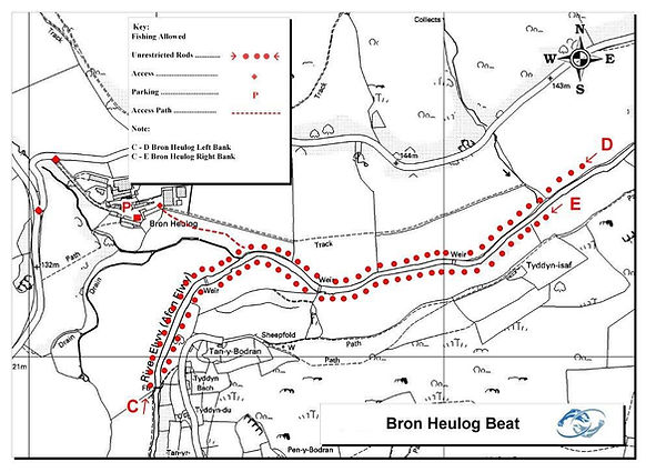 A map of the Bron Heulog beat of the River Elwy at St Asaph near Rhyl North Wales. Controlled by Rhyl an St Asaph Angling Association, the river Clwyd offers fishing for wild brown trout, sea trout and salmon.