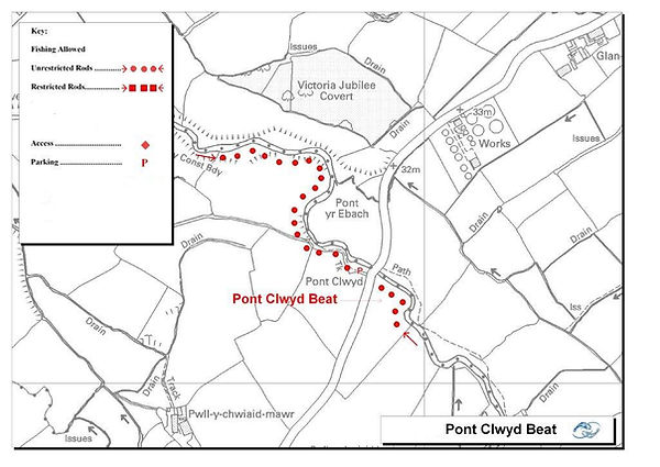 A map of the Pont Clwyd beat of the River Clwyd at St Asaph near Rhyl North Wales. Controlled by Rhyl an St Asaph Angling Association, the river Clwyd offers fishing for wild brown trout, sea trout and salmon.