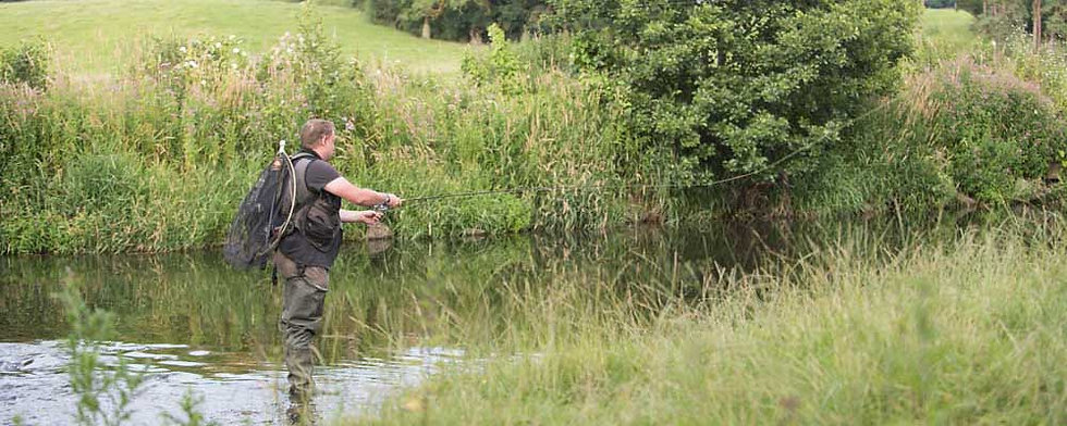 A photo of the Llanerch beat of the River Clwyd at St Asaph near Rhyl North Wales. Controlled by Rhyl an St Asaph Angling Association, the river Clwyd offers fishing for wild brown trout, sea trout and salmon.
