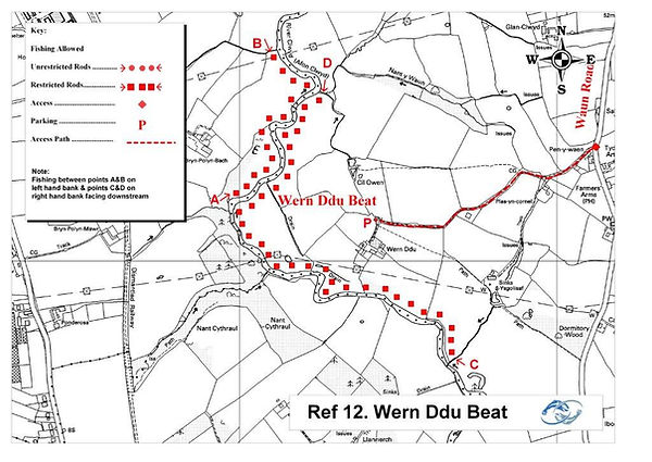 A map of the Wern Ddu beat of the River Clwyd at St Asaph near Rhyl North Wales. Controlled by Rhyl an St Asaph Angling Association, the river Clwyd offers fishing for wild brown trout, sea trout and salmon.
