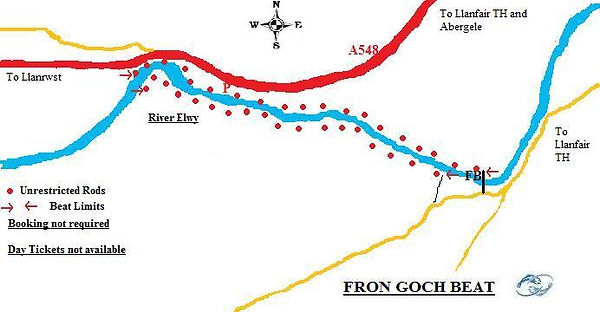 A map of the Fron Goch beat of the River Elwy at St Asaph near Rhyl North Wales. Controlled by Rhyl an St Asaph Angling Association, the river Clwyd offers fishing for wild brown trout, sea trout and salmon.