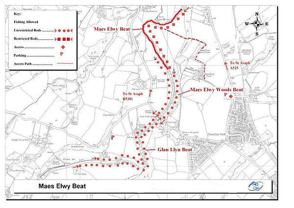 A map of the Maes Elwy beat of the River Elwy at St Asaph near Rhyl North Wales. Controlled by Rhyl an St Asaph Angling Association, the river Clwyd offers fishing for wild brown trout, sea trout and salmon.