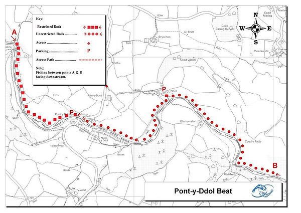 A map of the Pont y Ddol beat of the River Elwy at St Asaph near Rhyl North Wales. Controlled by Rhyl an St Asaph Angling Association, the river Clwyd offers fishing for wild brown trout, sea trout and salmon.