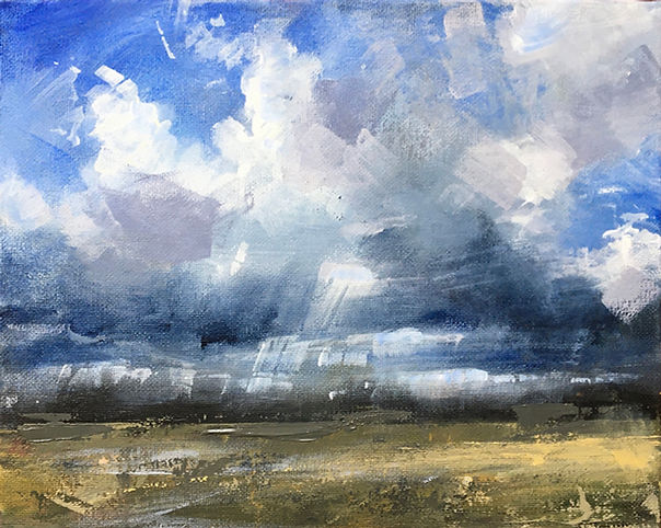 Landscape painting in acrylic gathering clouds