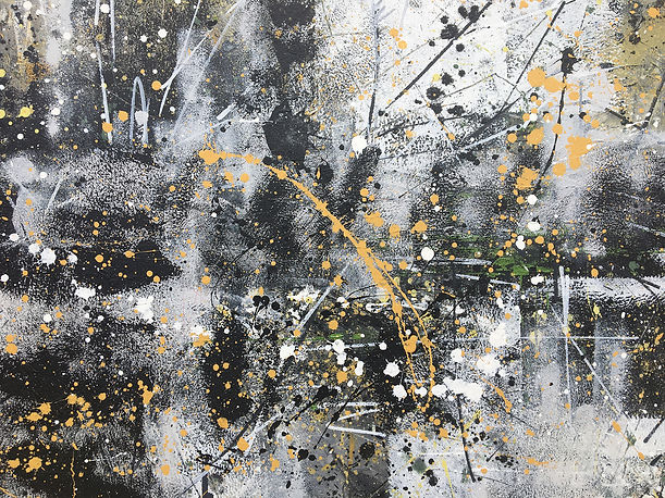 Acrylic abstract painting with orange black and grey splatters