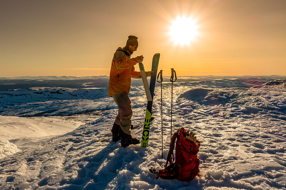 Skidåkare på Åreskutan. topptur, Åreskutan, skidåkare