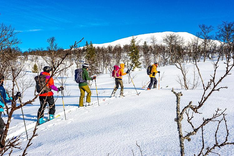 Skidguider i Åre, utbildningar i Åre, guide, vildmarksguide, topptur, turåkning, skidåkare, mycket snö vinter och kallt