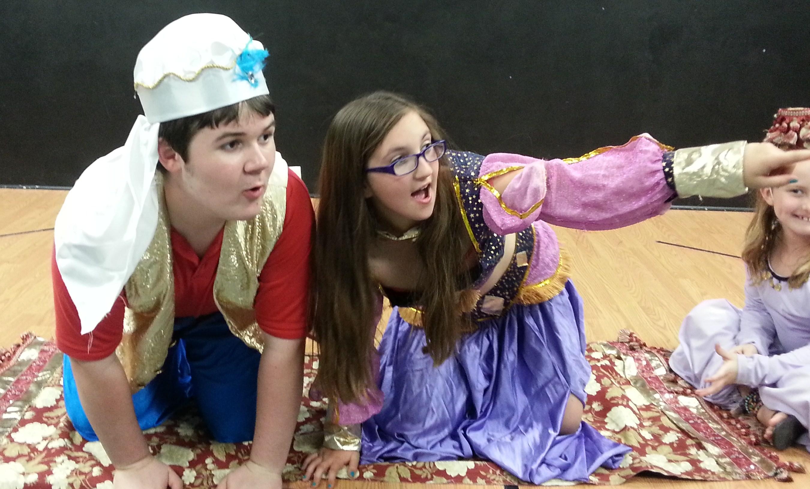 Aladdin and Genie on Carpet