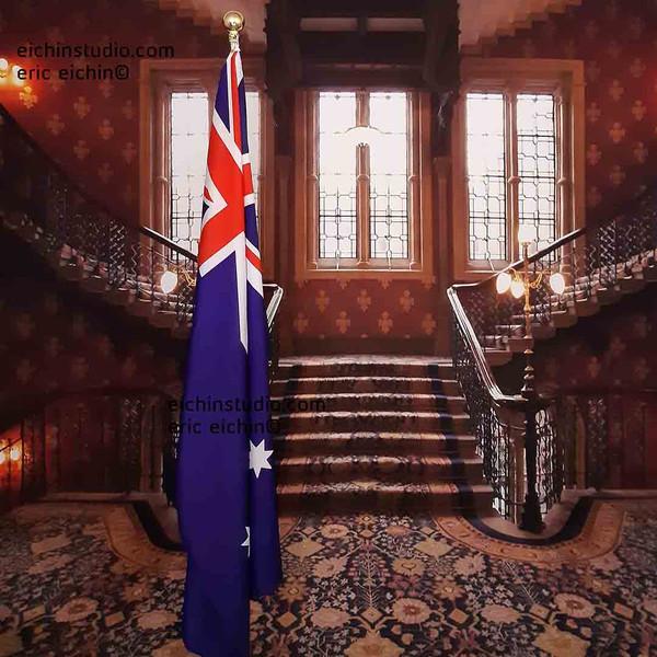 flag Australia.Vintage Palace Stairs
