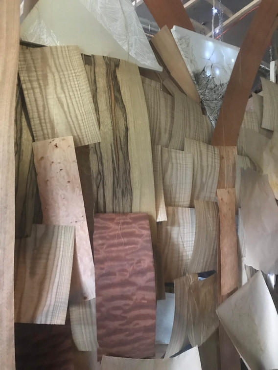 Wood veneer install Art + Architecture