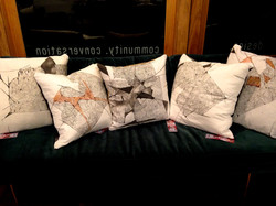Hand sewn, printed/dyed pillows