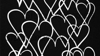 StencilGirl - 9x12 Heart Overlapping Stencil