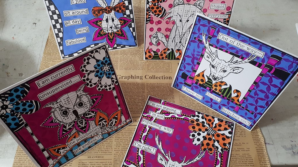 Dylusion enspired card kit of 6 cards