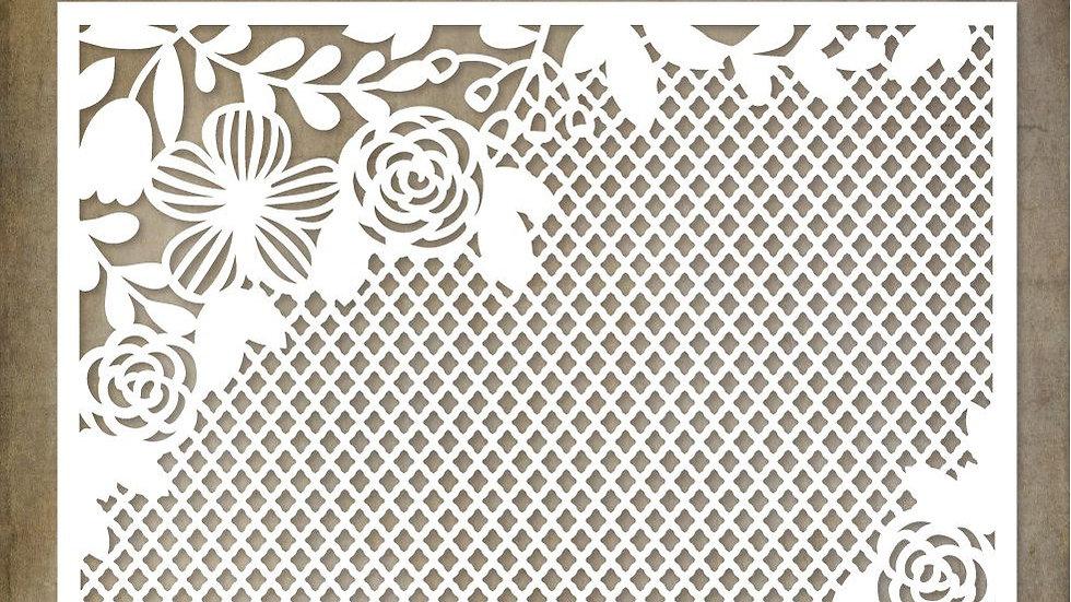 Paper Rose Floral Mesh  Stencil