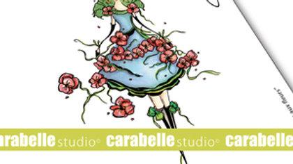 "Carabelle Studio Art stamp   ""jeune fille aux fleurs"""