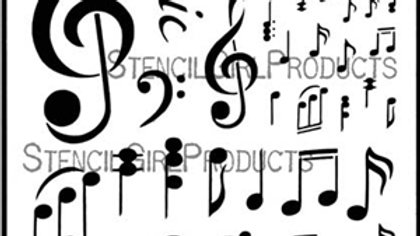 StencilGirl - 9x12 Music Notations Stencil