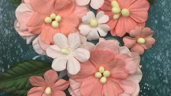 Green Tara Pastel Flowers  Peach