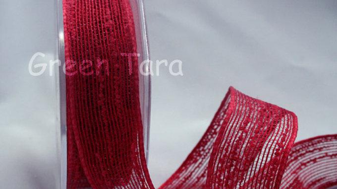 Ribbon Red Burlap per metre