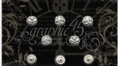 Graphic 45 - Shabby Chic Ornate Stamped Metal Brads