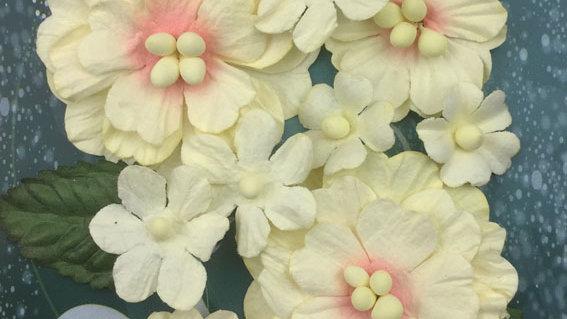 Green Tara Pastel Flowers Peach/cream