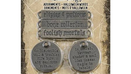Tim Holtz Idea-ology Adornments - Halloween Words