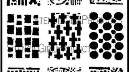 StencilGirl - 9x12 ATC Mixup - Apter Stencil