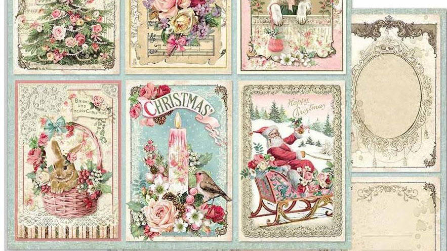 Stamperia  card fronts Christmas Pink