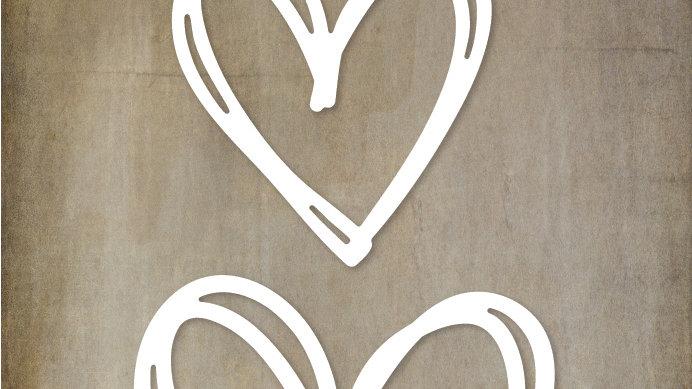 Paper Rose Metal Die - Scribble Hearts 2