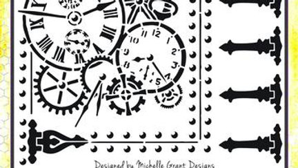 BeeArty time Flies Riverted  Stencil A4