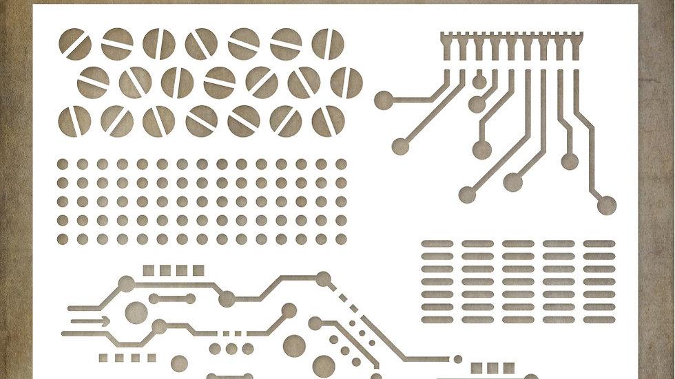 Paper Rose 6x6 Stencil - Circuits