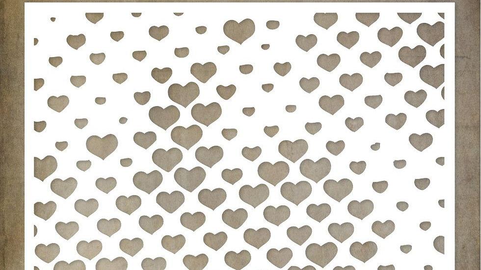 Paper Rose Stencil half tone Hearts