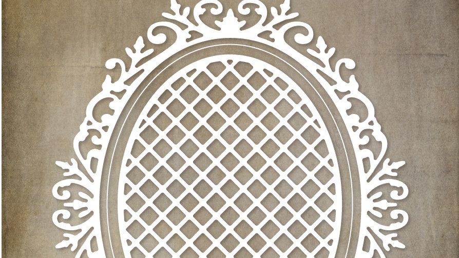 Paper Rose Metal Die - Victorian Oval Lattice Frame Die
