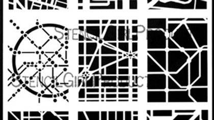 StencilGirl - 9x12 ATC Mixup - Nasser Stencil
