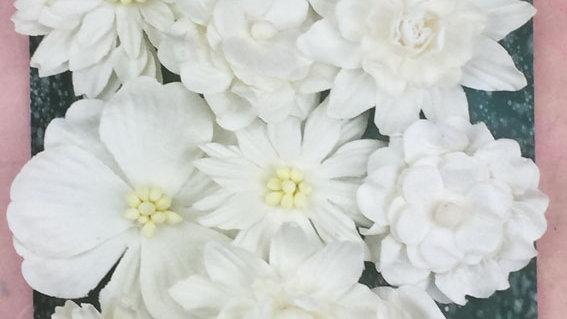 Green Tara Corn flower Paper flowers White