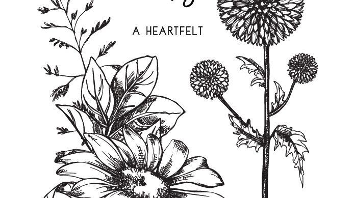 "Paper Rose Clear Stamp - Sketchy Floral Thanks 4x6"" Set"
