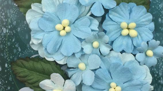Green Tara Pastel flowers Blue