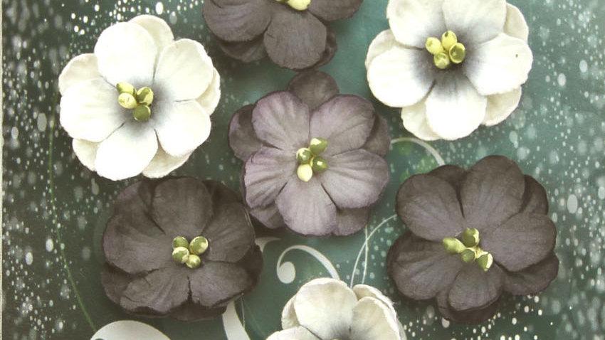 Green Tara Cherry Blossoms black/white tones 10 pieces