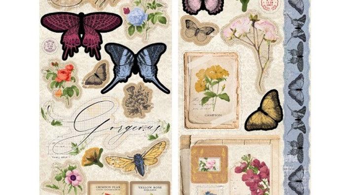 Bo Bunny Sticker Sheet - Botanical Journal