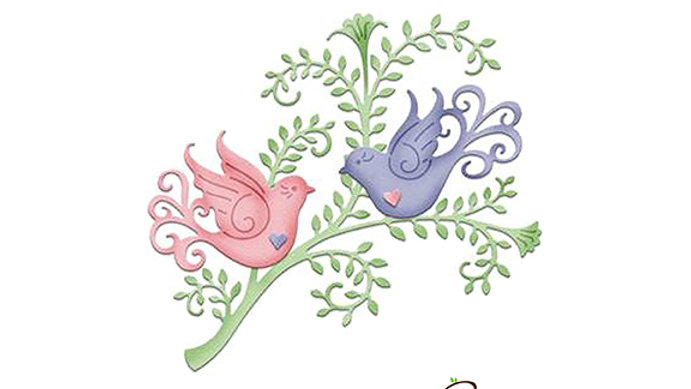 Cottage Cuts  Fancy Doves with vine