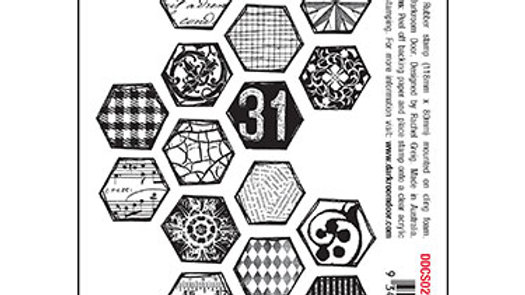 Darkroom Door Collage Stamp - Arty Hexagons