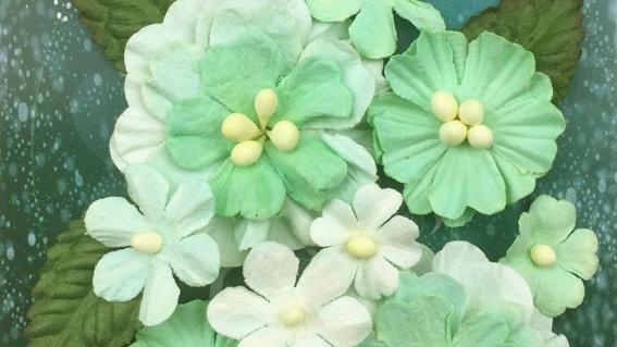 Green Tara Pastel Flowers green