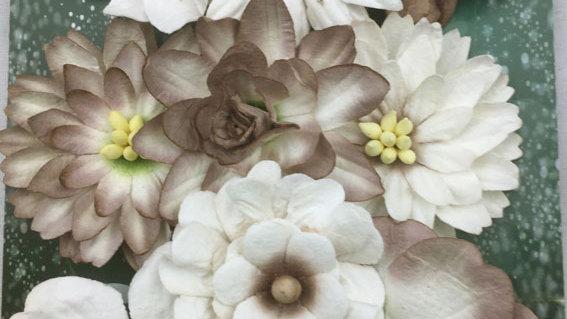 Green Tara   Corn flower Paper flowers  Beige