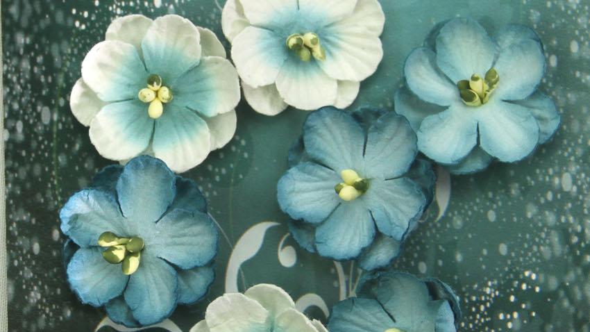 Green Tara Cherry Blossoms Blue 10 pieces