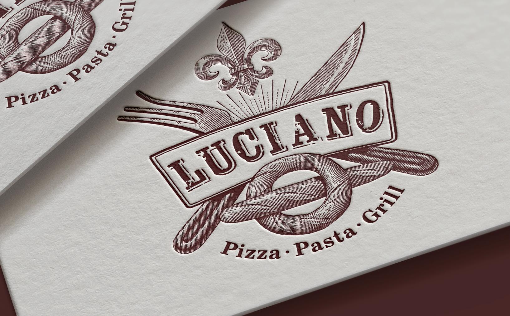 Логотип и фирменный стиль кафе Lucia