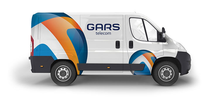 Логотип Gars telecom на транспорте