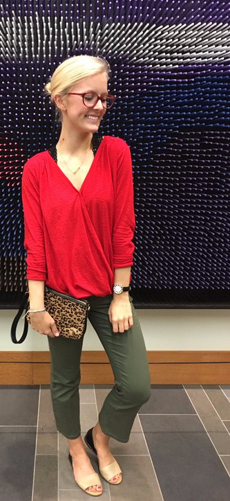 #ThriftyThursday: Power red and flared legs spice up business casual