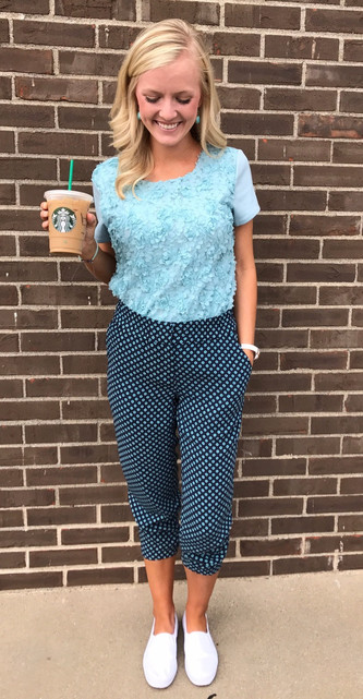 #ThriftyThursday: Printed pants and solid kicks for the win