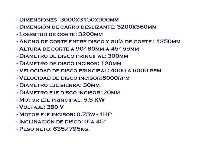 Sierra escuadradora MJ6132TYB 380 TEXTO.