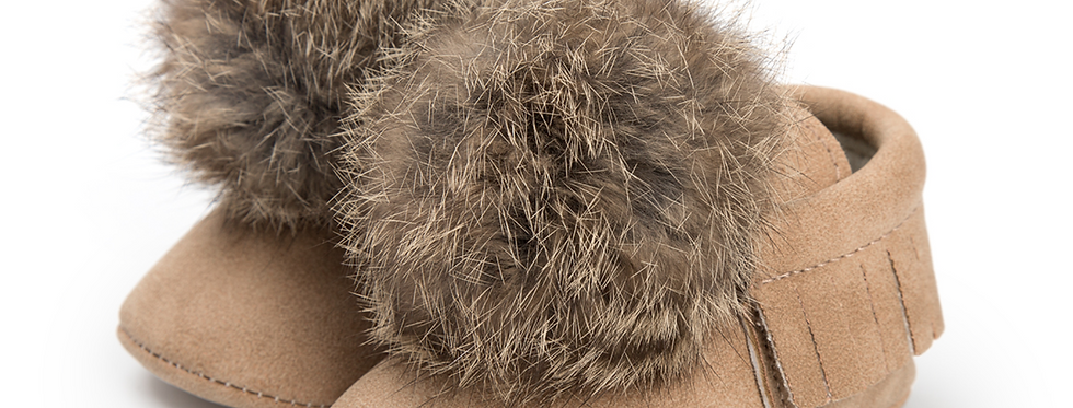 Bunny Tail Moccasins -Tan
