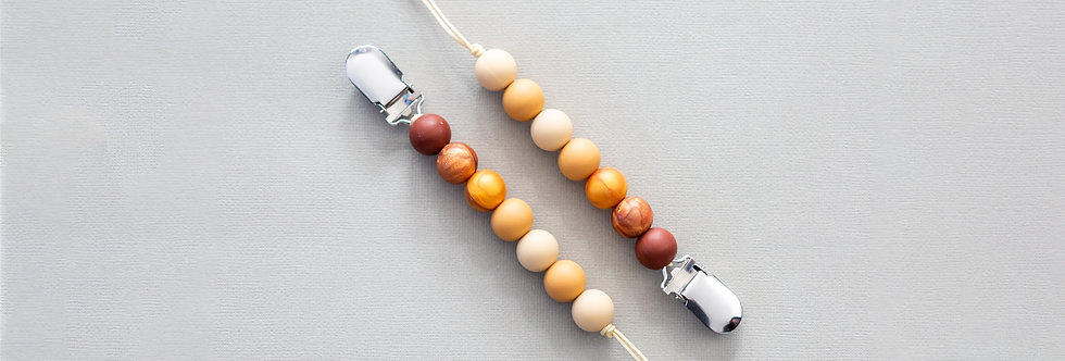 Eden Pacifier Clip - Golden Beige